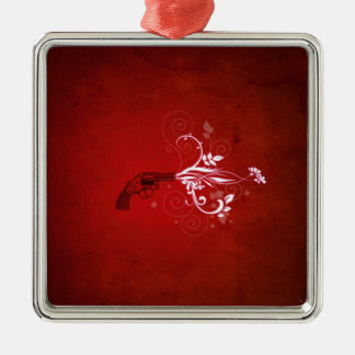 Abstract Red Gun Fire Silver-Colored Square Decoration