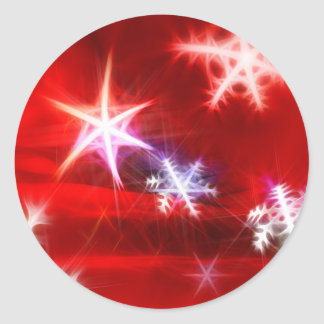 Abstract Red Holiday Snowflake Christmas Design Round Sticker