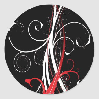 abstract red nature round sticker