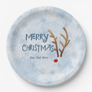 Abstract Red-Nosed Reindeer, Merry Christmas Paper Plate