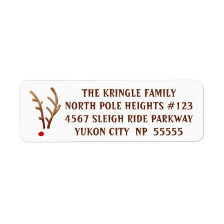 Abstract Red-Nosed Reindeer Return Address Label