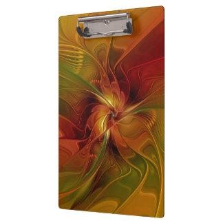 Abstract Red Orange Brown Green Fractal Art Flower Clipboard