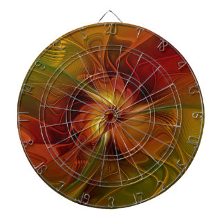 Abstract Red Orange Brown Green Fractal Art Flower Dartboard