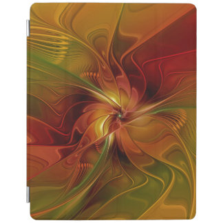 Abstract Red Orange Brown Green Fractal Art Flower iPad Cover