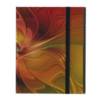 Abstract Red Orange Brown Green Fractal Art Flower iPad Covers