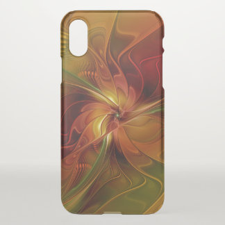 Abstract Red Orange Brown Green Fractal Art Flower iPhone X Case