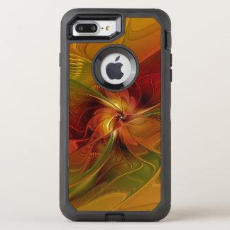 Abstract Red Orange Brown Green Fractal Art Flower OtterBox Defender iPhone 7 Plus Case