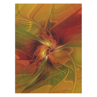 Abstract Red Orange Brown Green Fractal Art Flower Tablecloth