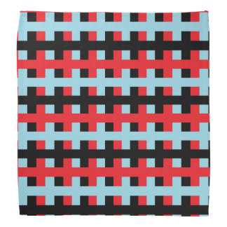 Abstract Red, Pastel Blue and Black Bandana