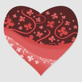 Abstract Red, Pink and White Butterflies Heart Sticker