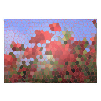 Abstract Red Poppies Blue Sky Stained Glass Mosaic Place Mat