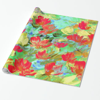 Abstract Red Poppies Wrapping Paper