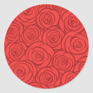 Abstract Red Roses Background Round Sticker