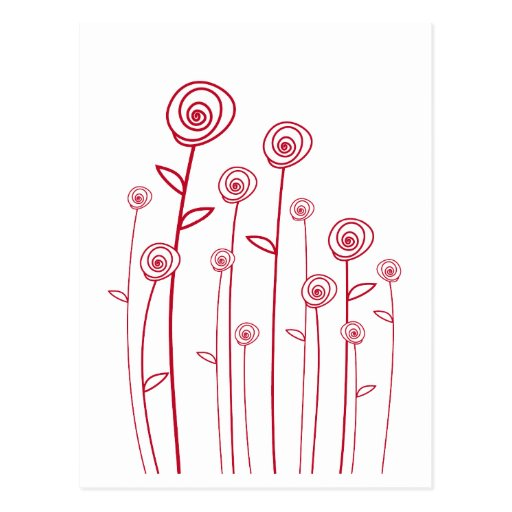 abstract red roses postcard