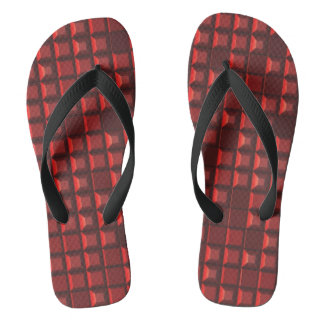 Abstract red topless pyramid 3D-pattern Flip Flops
