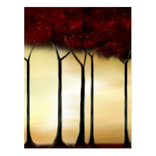 Abstract Red Trees Post Cards