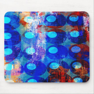 Abstract Red White and Blue Circles Mouse Pad