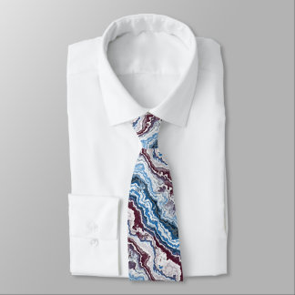 Abstract Red White Blue Minerals Agate Pattern Tie