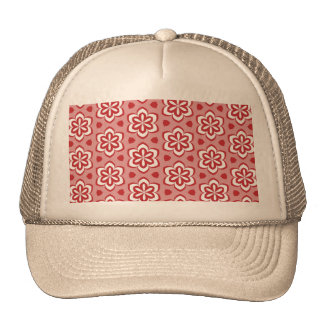 Abstract red white floral pattern. cap