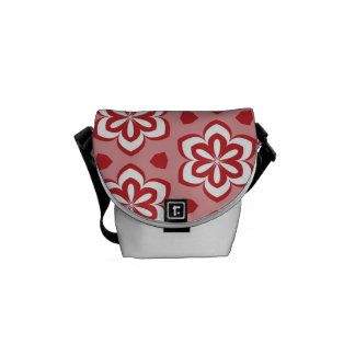Abstract red white floral pattern. messenger bag