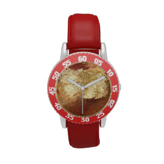 Abstract Red with Gold (Kimberly Turnbull Art) Watch