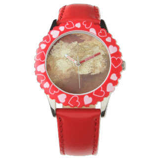 Abstract Red with Gold (Kimberly Turnbull Art) Wrist Watches