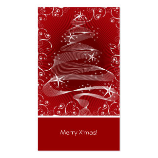 Abstract Red X'mas Tree & Swirls Mini Greeting Tag Business Card Templates