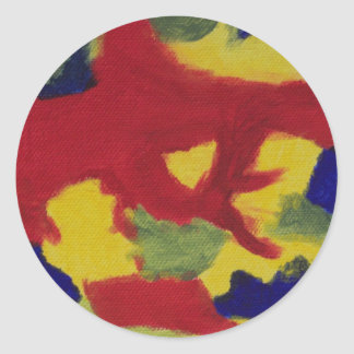Abstract Red Yellow Blue Painting Round Sticker
