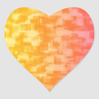 Abstract Red Yellow Geometric Art Heart Sticker