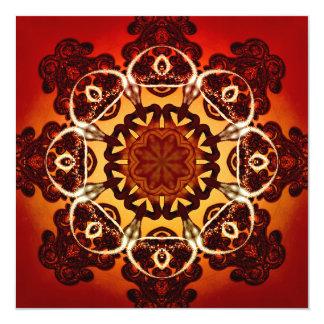 Abstract, red, yellow mandala 13 cm x 13 cm square invitation card