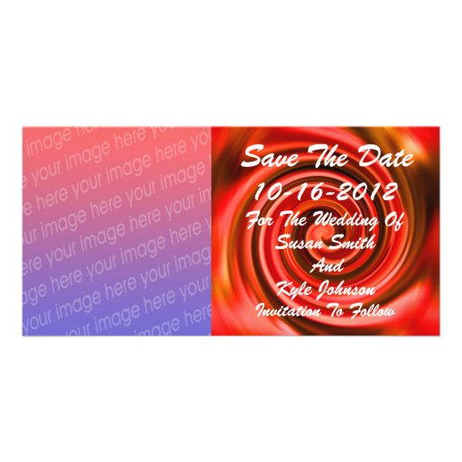 Abstract Red Yellow Photo Wedding Save The Date Picture Card