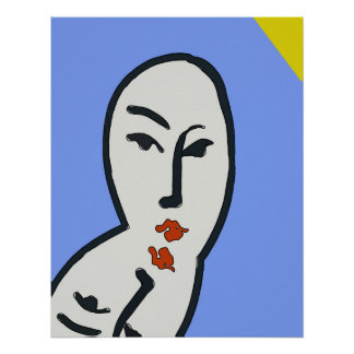 Abstract Reflecting  Face After Matisse Poster