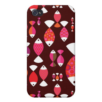 Abstract retro fish underwater pattern iPhone 4/4S covers