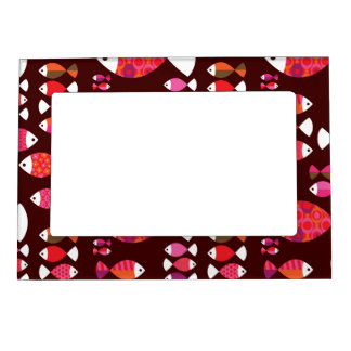 Abstract retro fish underwater pattern picture frame magnets