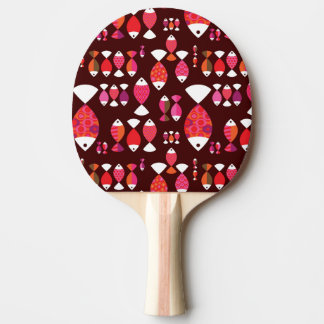 Abstract retro fish underwater pattern ping pong paddle