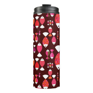 Abstract retro fish underwater pattern thermal tumbler