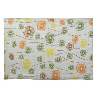 Abstract Retro Floral Pattern Place Mat