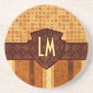 Abstract Retro Grunge Amber Brown Orange Patterns Drink Coasters