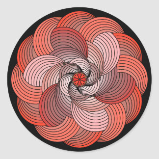 Abstract Ribbon Rose in Coral and Black Round Sticker
