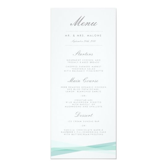 Abstract Ribbons Wedding Dinner Menu - Blue Card