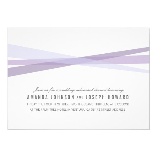 Abstract Ribbons Wedding Rehearsal Dinner Invite