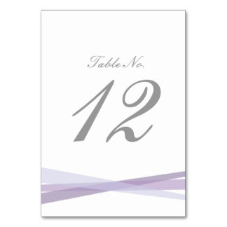 Abstract Ribbons Wedding Table Number - Purple Table Card