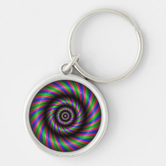 Abstract rings Silver-Colored round key ring