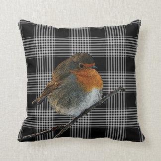 Abstract robin bird on black tartan checkered cushion