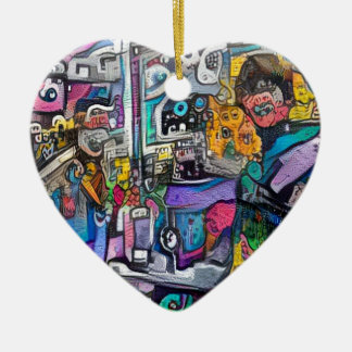 Abstract rock band ceramic heart decoration