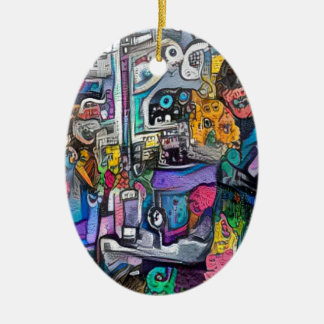 Abstract rock band ceramic oval decoration