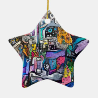 Abstract rock band ceramic star decoration