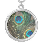 Abstract Rock Peacock Feather Round Pendant Necklace