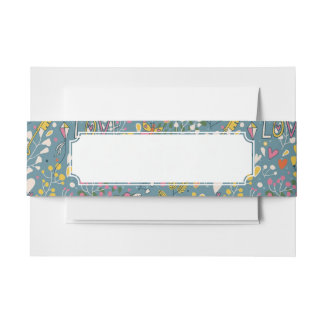 Abstract romantic pattern with cartoon invitation belly band