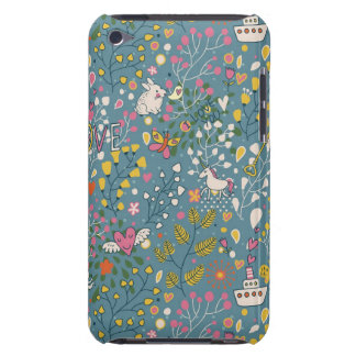 Abstract romantic pattern with cartoon iPod touch case